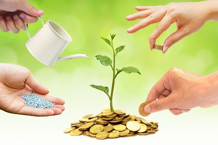 bucket of money: Cooperation - Hands helping planting trees growing on coins together with green background - Building business with csr and ethics Stock Photo