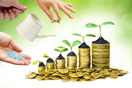 Cooperation - Hands helping planting trees growing on coins together with green background - Building business with csr and ethics Stock Photo
