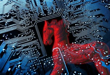 virus informatico: Caballo de Troya  s�mbolo de un caballo de Troya rojo en azul equipo placa de circuito de fondo Foto de archivo