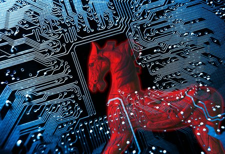 internet attack: Trojan horse  symbol of a red trojan horse on blue computer circuit board background Stock Photo