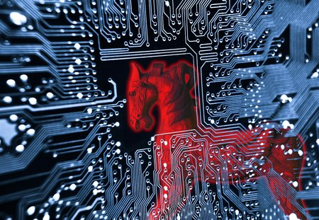 Trojan horse  symbol of a red trojan horse on blue computer circuit board background Stock Photo