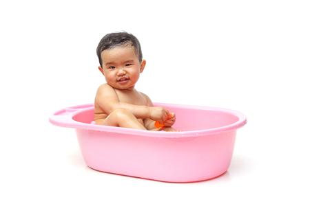 take a bath: take a bath for a young asian baby