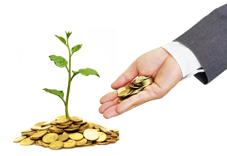 business concern: hand of a businessman giving coins to trees growing on golden coins with green background - Business growth and wealth with csr concern