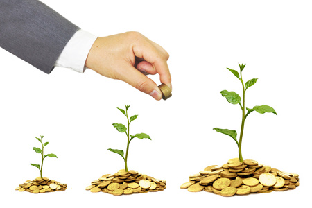 business concern: hand of a businessman giving coins to trees growing on golden coins with isolated background - Business growth and wealth with csr concern