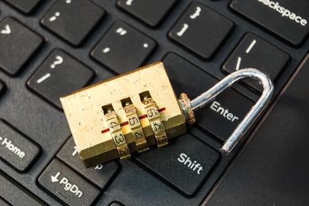 open security lock on black computer keyboard