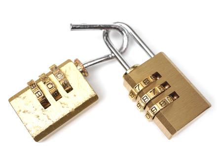 vulnerability: Broken security lock vs. good security lock  Vulnerability and countermeasure concept in computer Stock Photo