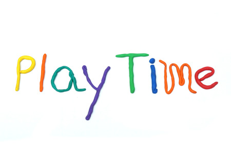 playdoh: clay for children on isolated background saying play time