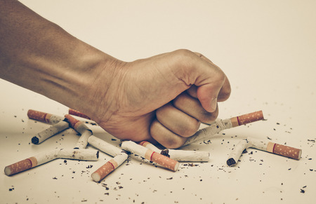 quit: male hand destroying cigarettes - stop smoking concept