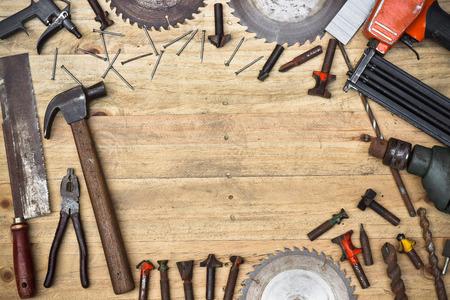 carpintero: Herramientas del carpintero de la vista superior