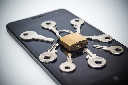 security breach: Smartphone random password hacking attempt concept  mobile phone security breach
