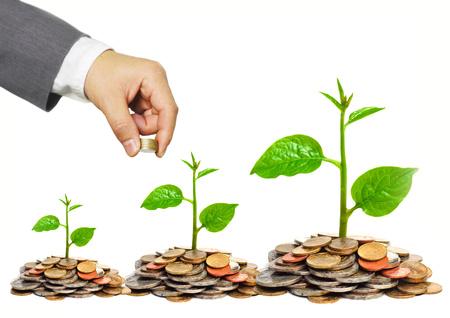 Hand von einem Geschäftsmann, der Münzen, die Bäume wachsen auf goldenen Münzen - Business Wachstum und Wohlstand mit csr Anliegen
