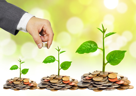 pound coins: hand of a businessman giving coins to trees growing on golden coins - Business growth and wealth with csr concern