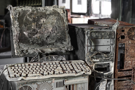 Personal computer burnt due to electricity short circuit - Threat to computer hardware concept
