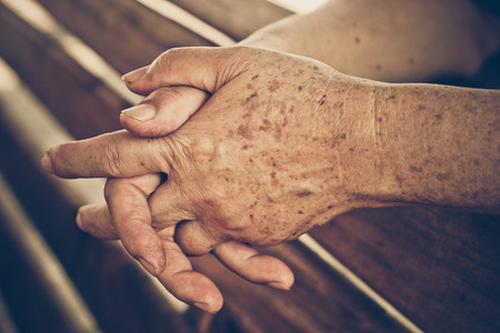 80 year old: hands of a female elderly Stock Photo
