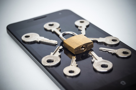 computer virus protection: Smartphone random password hacking attempt concept  mobile phone security breach