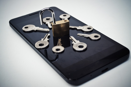 breach: Smartphone random password hacking attempt concept  mobile phone security breach