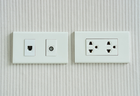 receptacle: electricity socket and telephone socket install on the wall