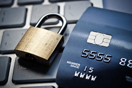 bank robber: credit card data encryption security Stock Photo