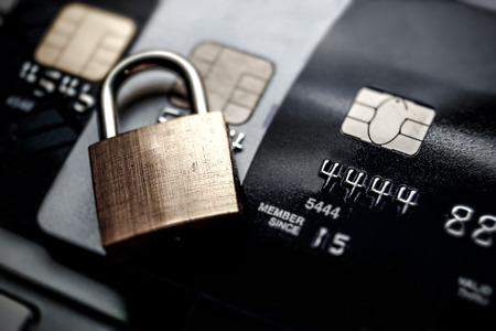 transaction: credit card data encryption security Stock Photo