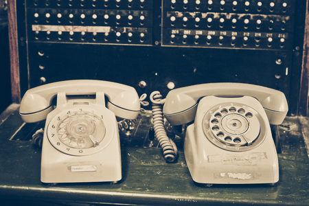 switchboard: old telephone with switchboard Stock Photo