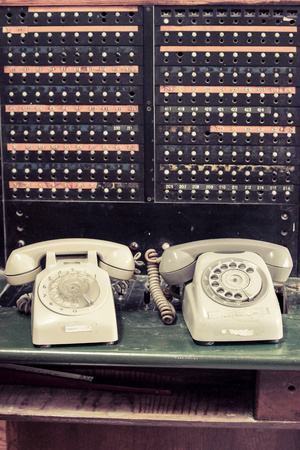 switchboard: old telephone with switchboard operator