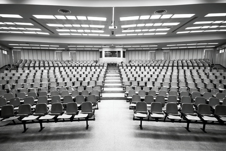 An empty large lecture room  University classroom