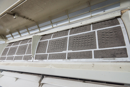 very dirty: Very dirty, dirty air conditioner filter Stock Photo