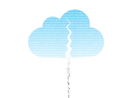 breach: cloud system breach - cloud computing system broke down due to hacking Stock Photo