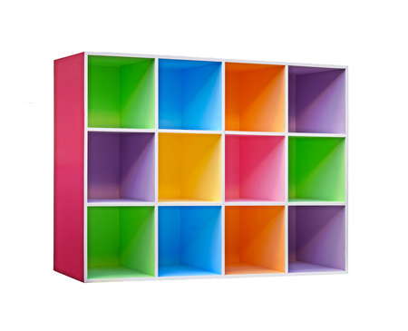 office cabinet: colorful wooden cupboard Stock Photo