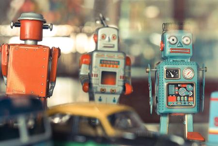 tin robot: old classic robot toys Stock Photo