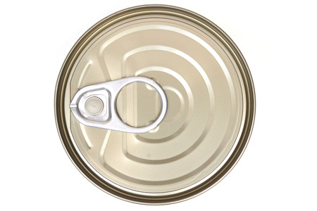 tin: top view of a can food isolated Stock Photo
