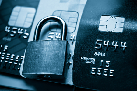 secured payment: Credit card data security concept  Data encryption on credit card Stock Photo