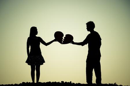 Een man en een vrouw met een gebroken hart Stockfoto