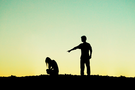 man scolding: A man is scolding a crying woman  Couple relationship difficulty