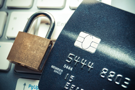 theft prevention: credit card data encryption security Stock Photo