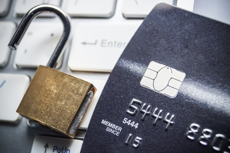 encryption: credit card data encryption security Stock Photo