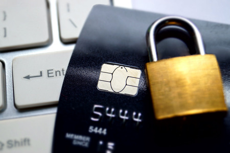 secured payment: credit card data encryption security Stock Photo