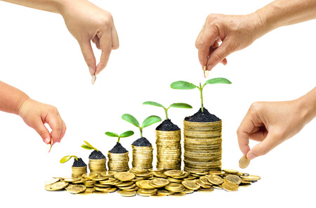 growth business: Grandmother, father, mother, and baby in the family do green saving money isolated  Family go green saving concept