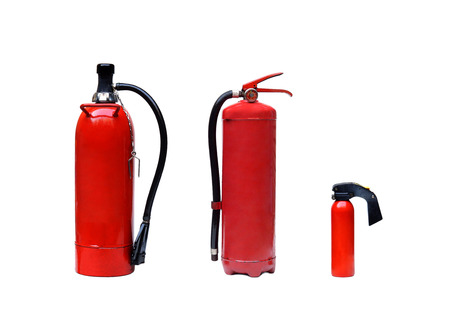 fire extinguishers: different types of fire extinguishers isolated Stock Photo