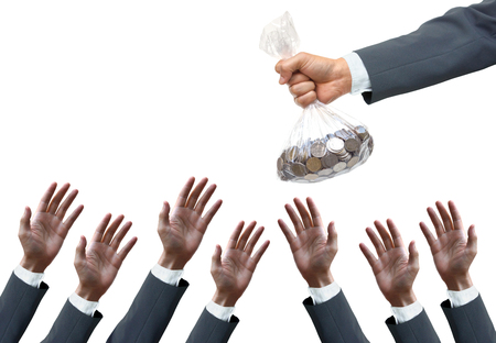pursue: New businessmen need budget for investment concept Stock Photo