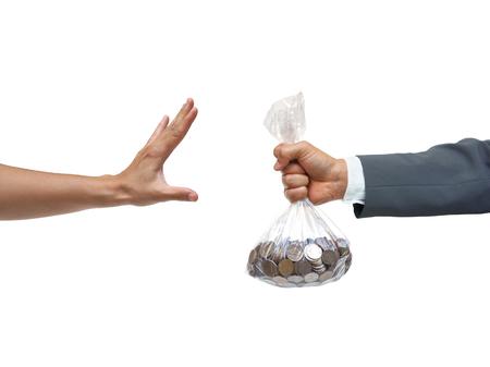 Stop de corruptie / No corruptie / stop geld politiek Stockfoto
