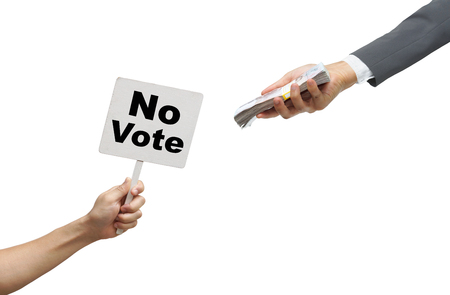 unethical: Stop corruption  No corruption  No vote Stock Photo