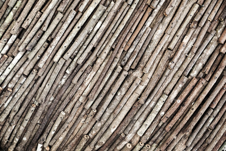 wood stick: wood stick arranged as a wall background Stock Photo