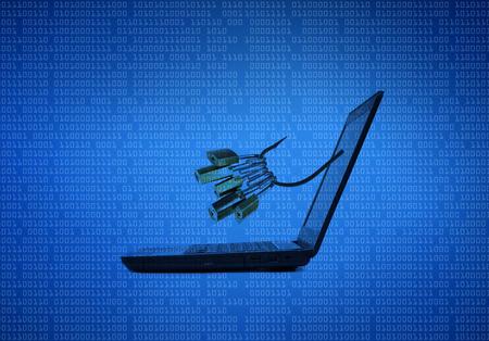 phishing attack on computer data Stock Photo