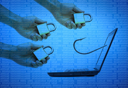 theft prevention: Computer threat  Dealing with phishing attack Stock Photo