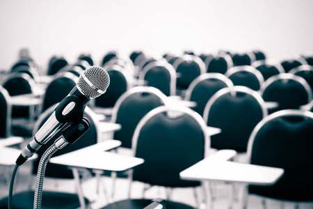 empty classroom: A microphone in empty classroom