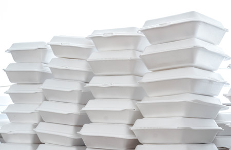 Stacks of foam boxes - environmental problem concept Stock Photo