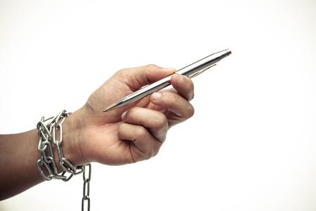 violación: La libertad de prensa está en el concepto de riesgo - concepto de día Mundial de la libertad de prensa Foto de archivo