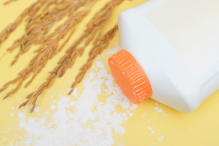 baby rice: Baby powder made of pure rice starch - Using rice starch powder instead of talcum powder concept Stock Photo