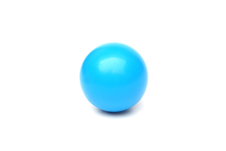 young add: blue plastic ball isolated